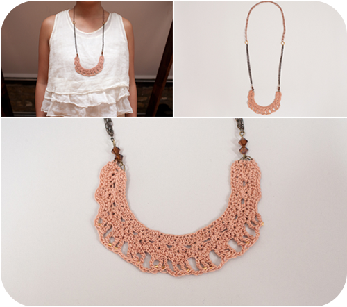 Free Crochet Heart Necklace Pattern : crocheted necklace